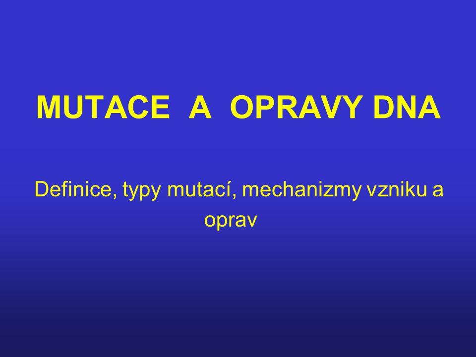 Definice, typy mutací, mechanizmy vzniku a oprav