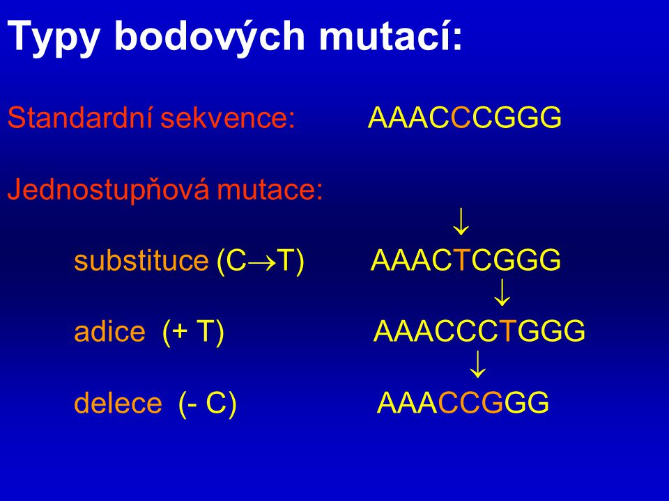 Typy bodových mutací: Standardní sekvence: AAACCCGGG Jednostupňová mutace:  substituce (CT) AAACTCGGG  adice (+ T) AAACCCTGGG  delece (- C) AAACCGGG