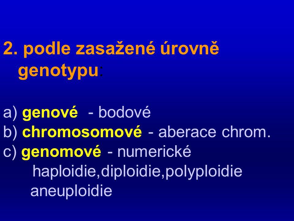 2. podle zasažené úrovně genotypu: