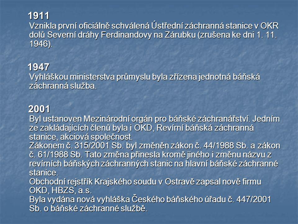 1911 Vznikla první oficiálně schválená Ústřední záchranná stanice v OKR dolů Severní dráhy Ferdinandovy na Zárubku (zrušena ke dni 1. 11. 1946).