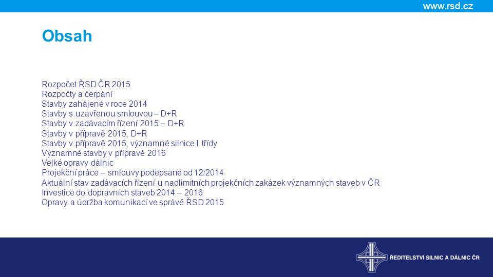Obsah Rozpočet ŘSD ČR 2015 Rozpočty a čerpání