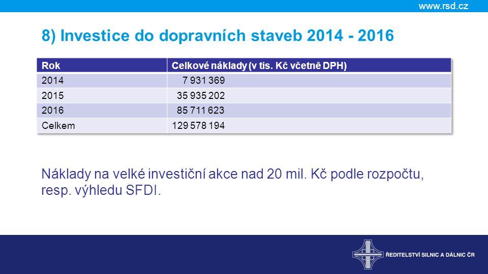 8) Investice do dopravních staveb 2014 - 2016