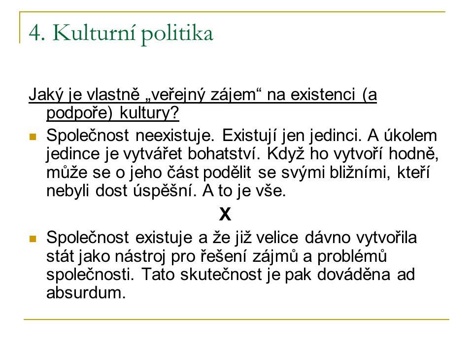 """4. Kulturní politika Jaký je vlastně """"veřejný zájem na existenci (a podpoře) kultury"""