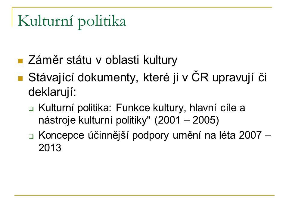 Kulturní politika Záměr státu v oblasti kultury