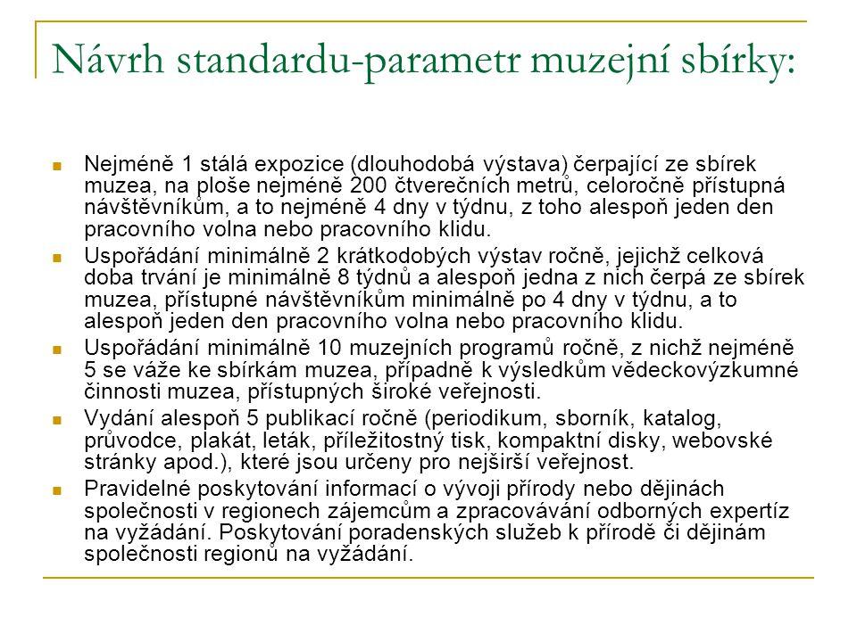 Návrh standardu-parametr muzejní sbírky: