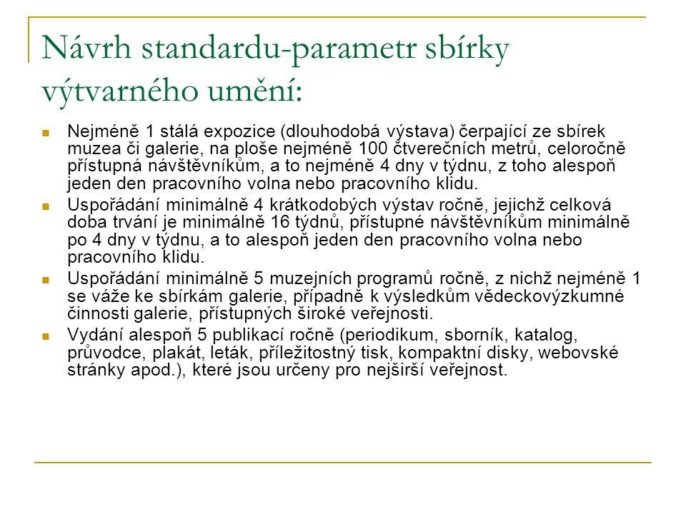 Návrh standardu-parametr sbírky výtvarného umění: