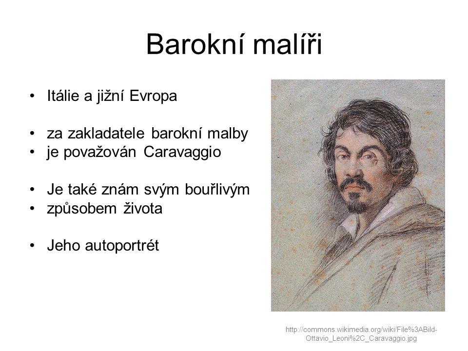 Barokní malíři Itálie a jižní Evropa za zakladatele barokní malby