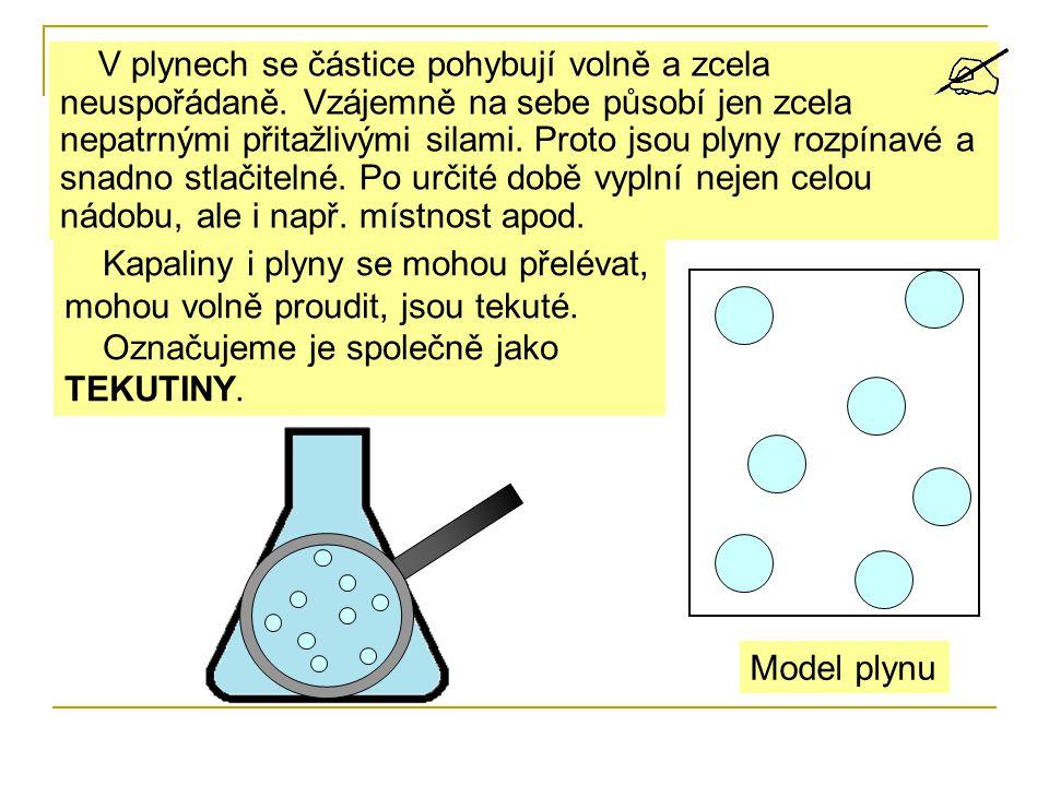 V plynech se částice pohybují volně a zcela neuspořádaně