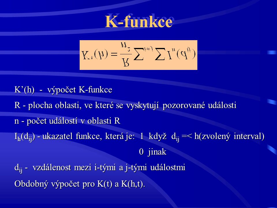 K-funkce K'(h) - výpočet K-funkce