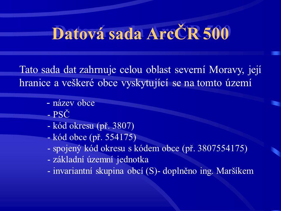 Datová sada ArcČR 500 Tato sada dat zahrnuje celou oblast severní Moravy, její hranice a veškeré obce vyskytující se na tomto území.