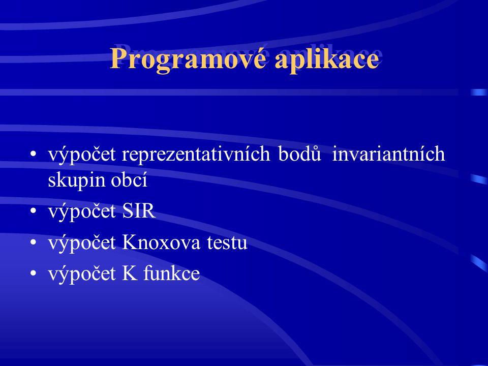 Programové aplikace výpočet reprezentativních bodů invariantních skupin obcí. výpočet SIR. výpočet Knoxova testu.
