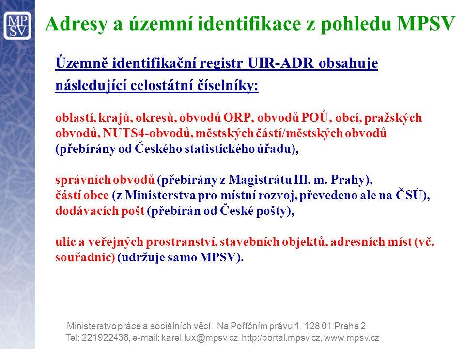 Adresy a územní identifikace z pohledu MPSV