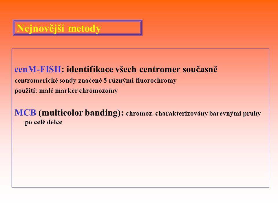 Nejnovější metody cenM-FISH: identifikace všech centromer současně