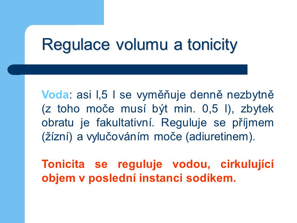 Regulace volumu a tonicity