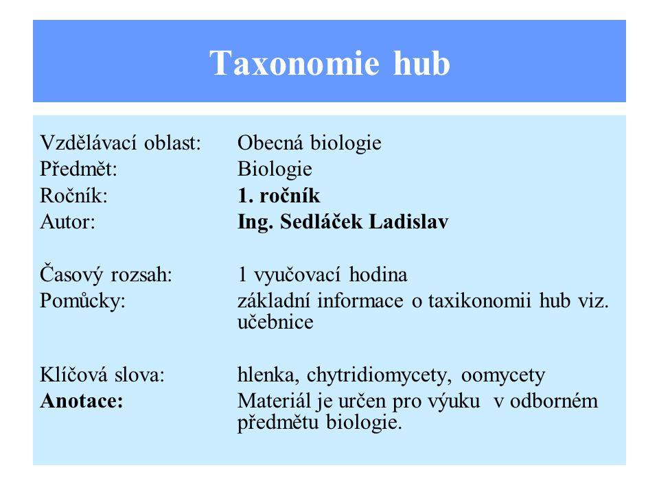Taxonomie hub Vzdělávací oblast: Obecná biologie Předmět: Biologie