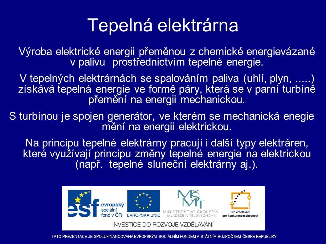 Tepelná elektrárna Výroba elektrické energii přeměnou z chemické energievázané v palivu prostřednictvím tepelné energie.