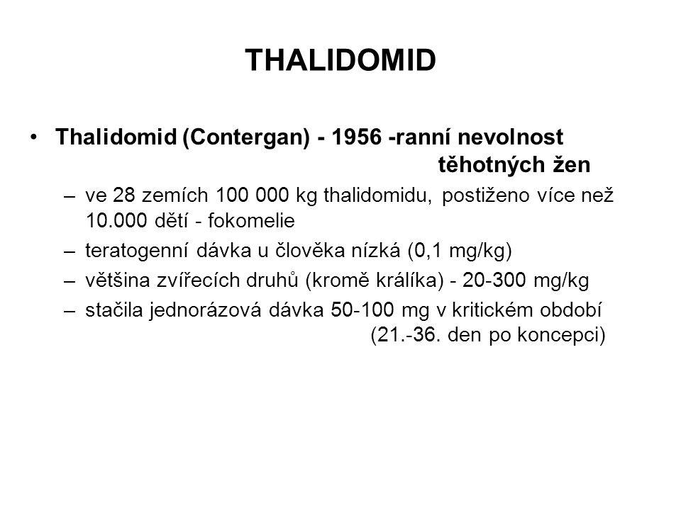 THALIDOMID Thalidomid (Contergan) - 1956 -ranní nevolnost těhotných žen.
