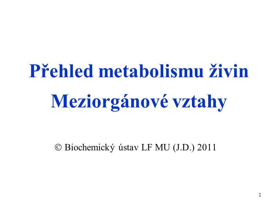 Přehled metabolismu živin Meziorgánové vztahy