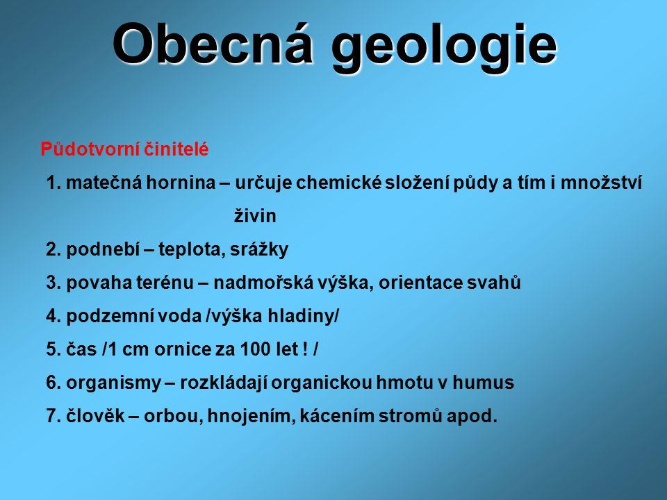 Obecná geologie Půdotvorní činitelé