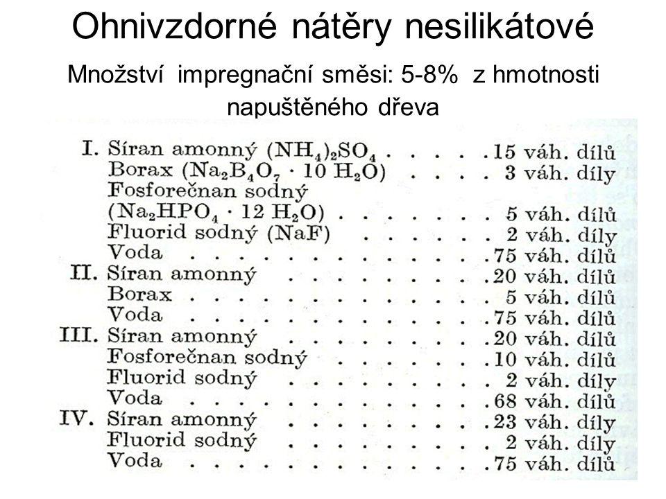 Ohnivzdorné nátěry nesilikátové Množství impregnační směsi: 5-8% z hmotnosti napuštěného dřeva