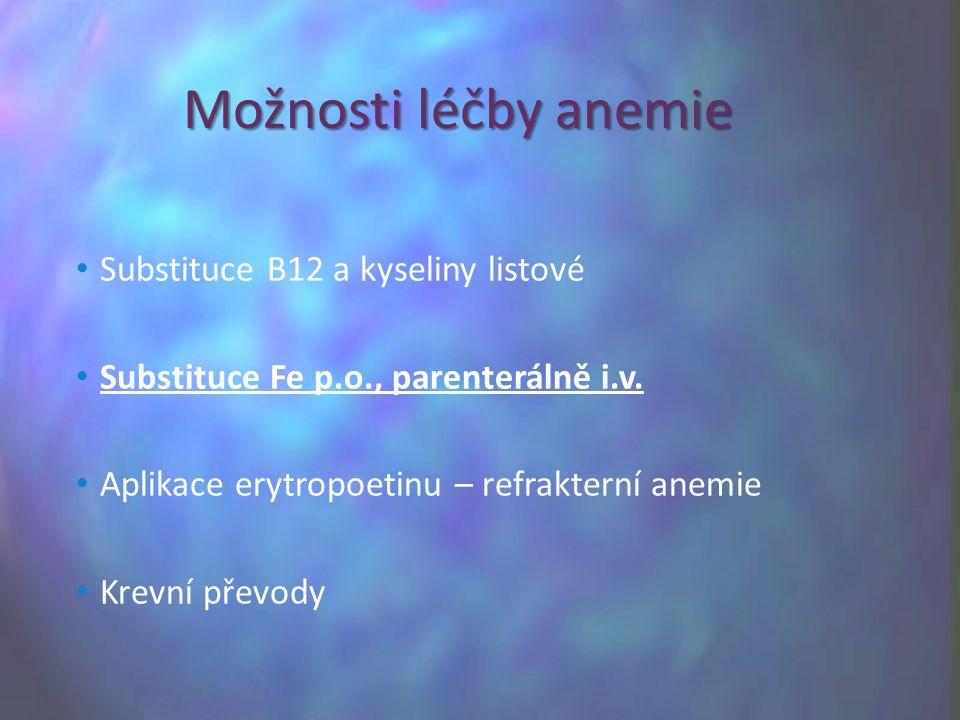 Možnosti léčby anemie Substituce B12 a kyseliny listové