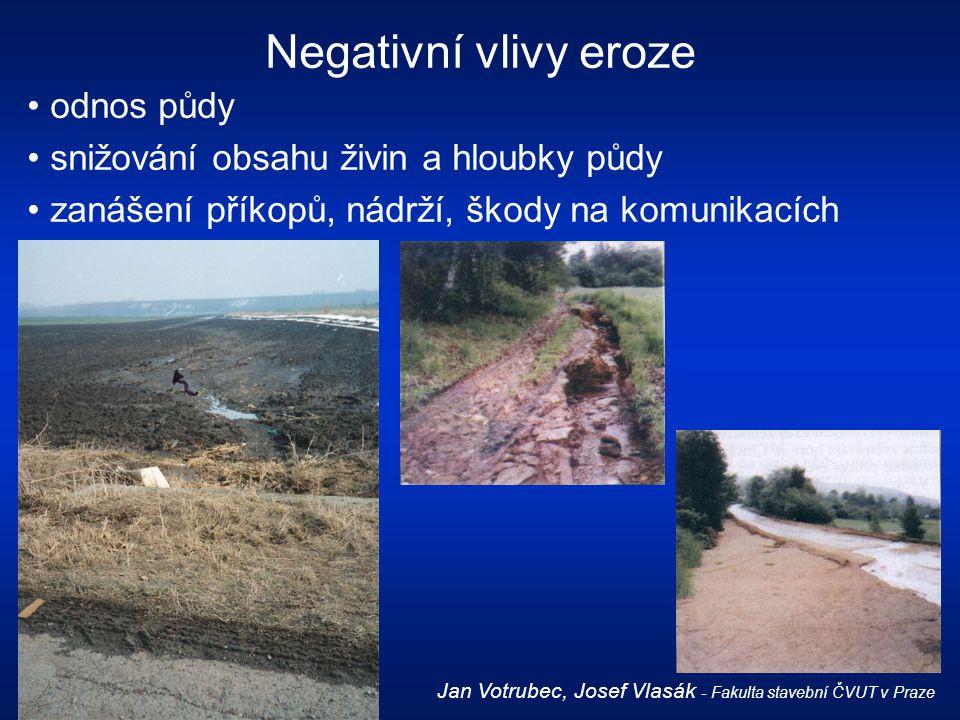 Negativní vlivy eroze odnos půdy snižování obsahu živin a hloubky půdy
