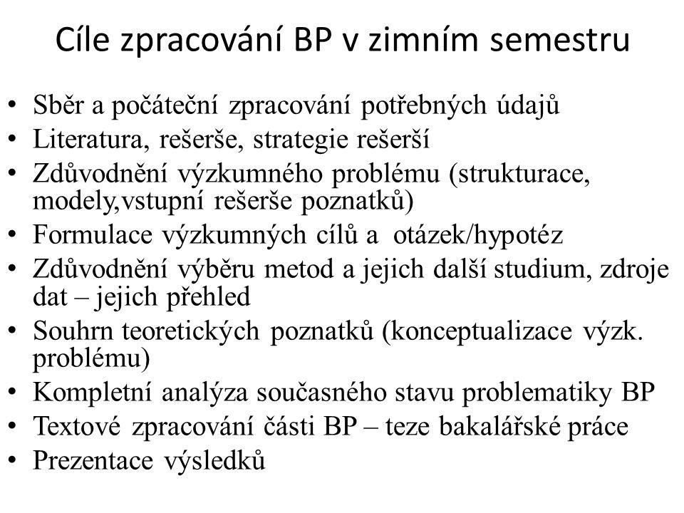 Cíle zpracování BP v zimním semestru