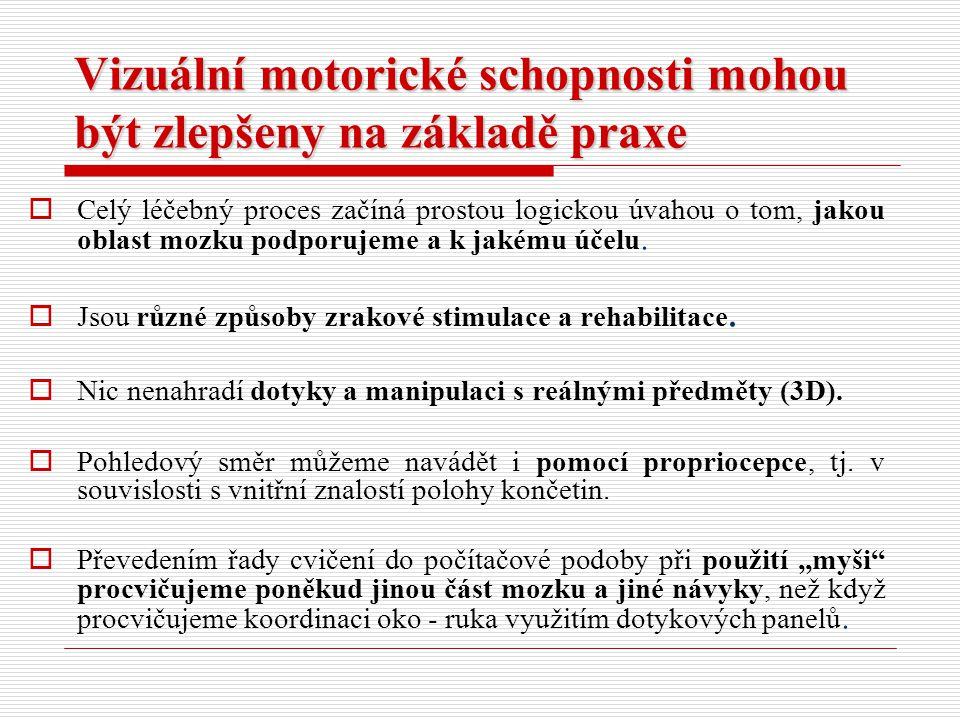 Vizuální motorické schopnosti mohou být zlepšeny na základě praxe