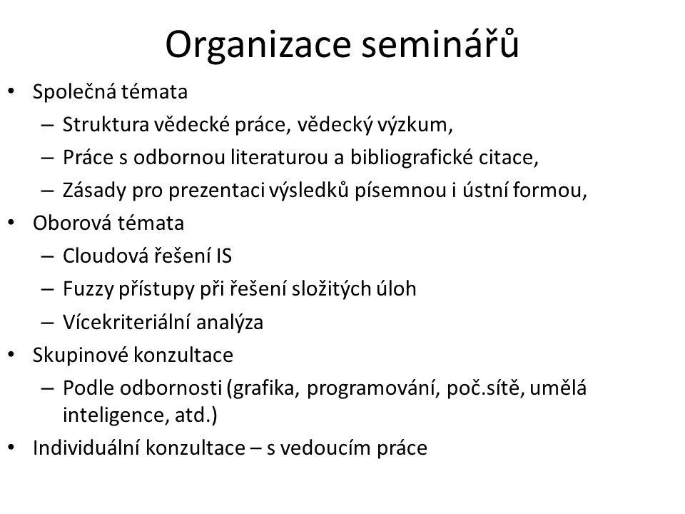 Organizace seminářů Společná témata