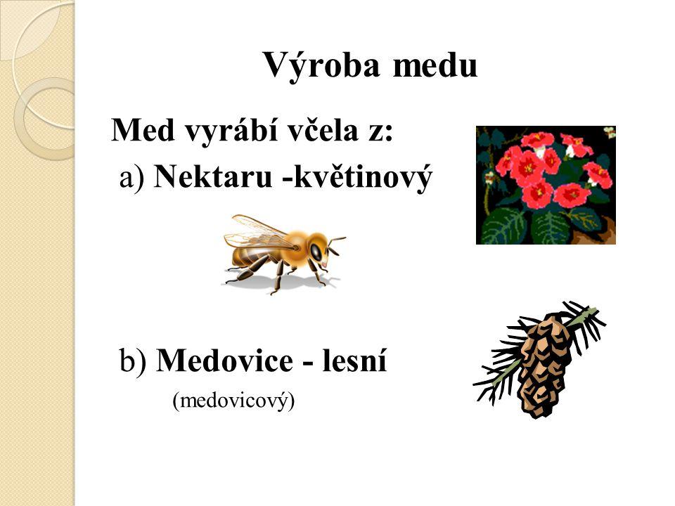 Výroba medu Med vyrábí včela z: a) Nektaru -květinový