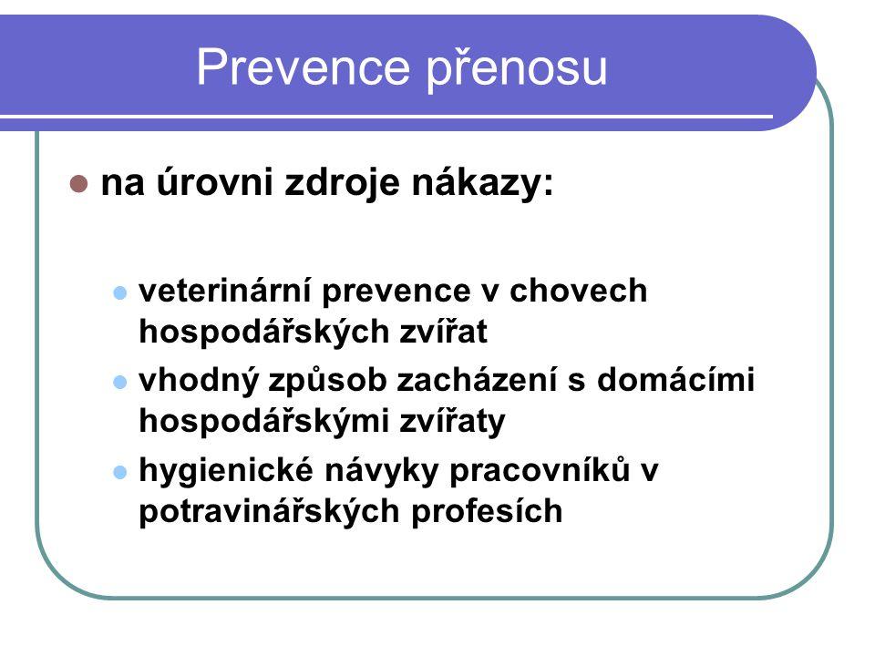 Prevence přenosu na úrovni zdroje nákazy: