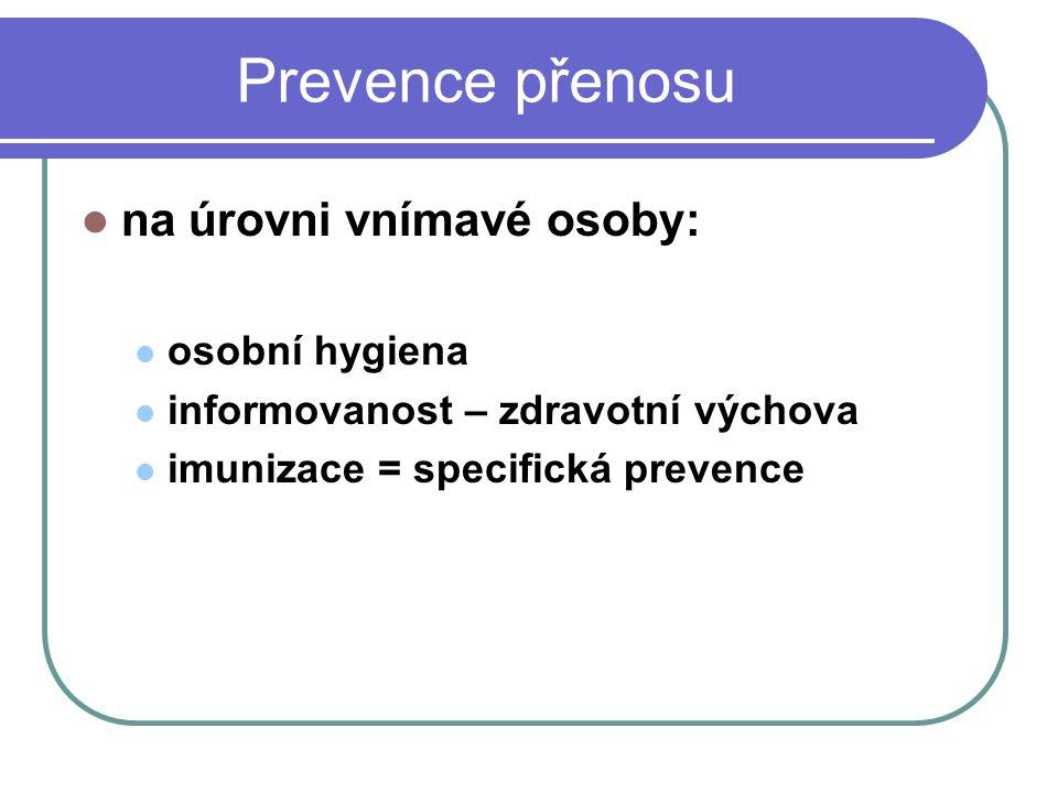 Prevence přenosu na úrovni vnímavé osoby: osobní hygiena