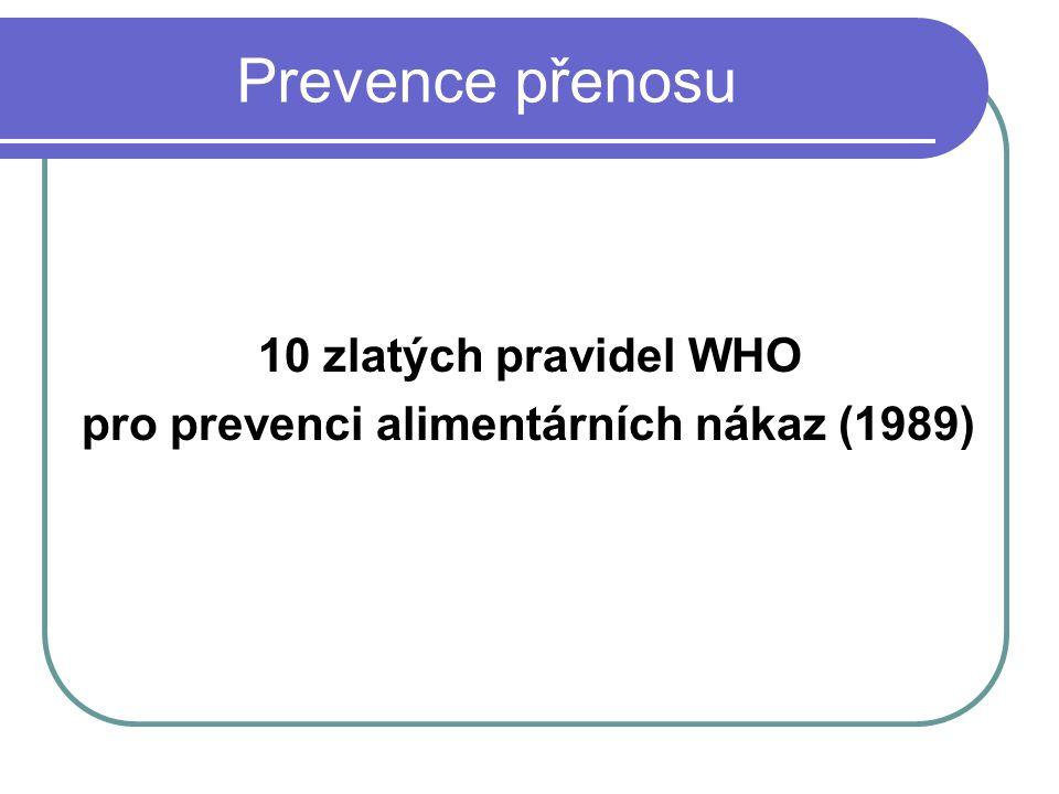 Prevence přenosu 10 zlatých pravidel WHO
