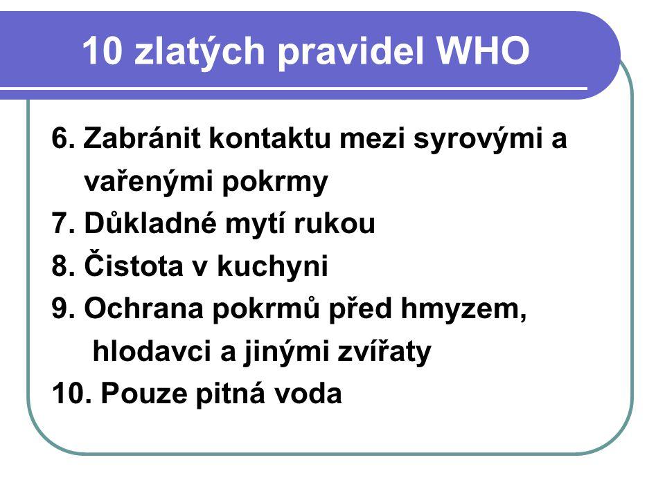 10 zlatých pravidel WHO 6. Zabránit kontaktu mezi syrovými a