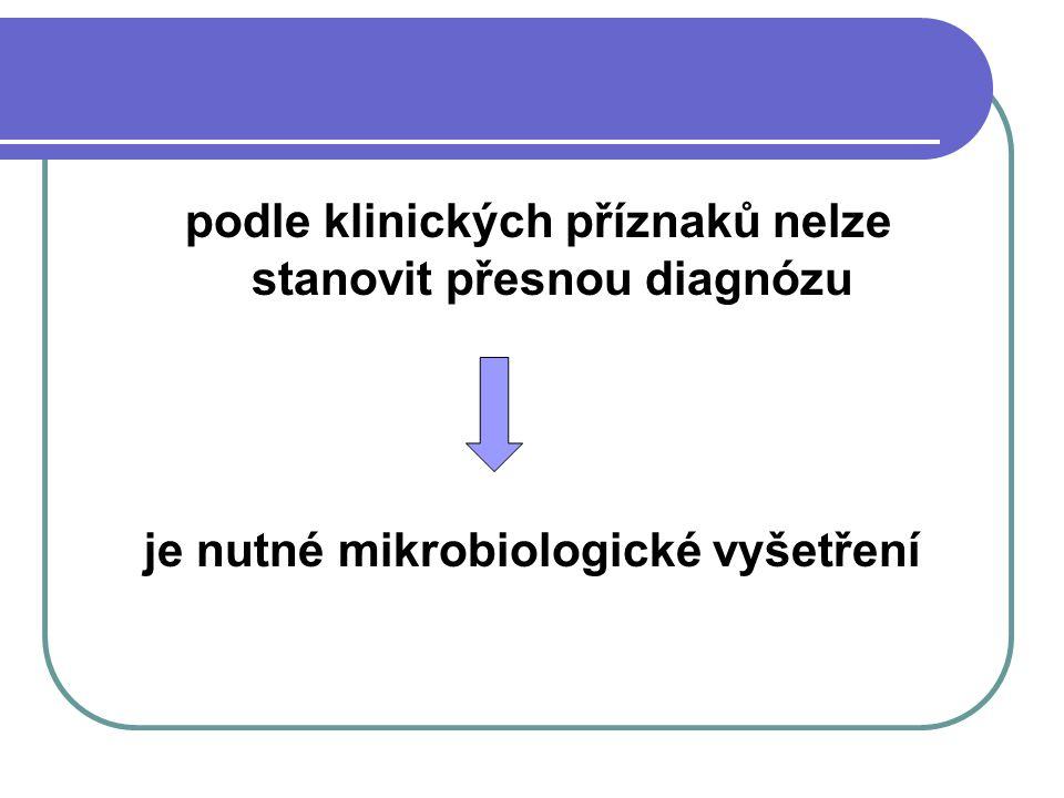 je nutné mikrobiologické vyšetření
