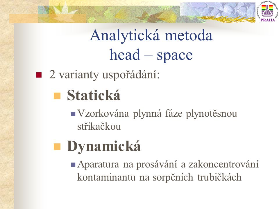 Analytická metoda head – space
