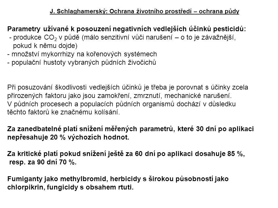 Parametry užívané k posouzení negativních vedlejších účinků pesticidů: