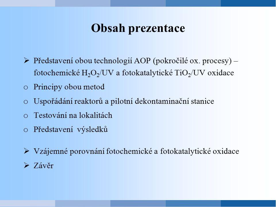 Obsah prezentace Představení obou technologií AOP (pokročilé ox. procesy) – fotochemické H2O2/UV a fotokatalytické TiO2/UV oxidace.