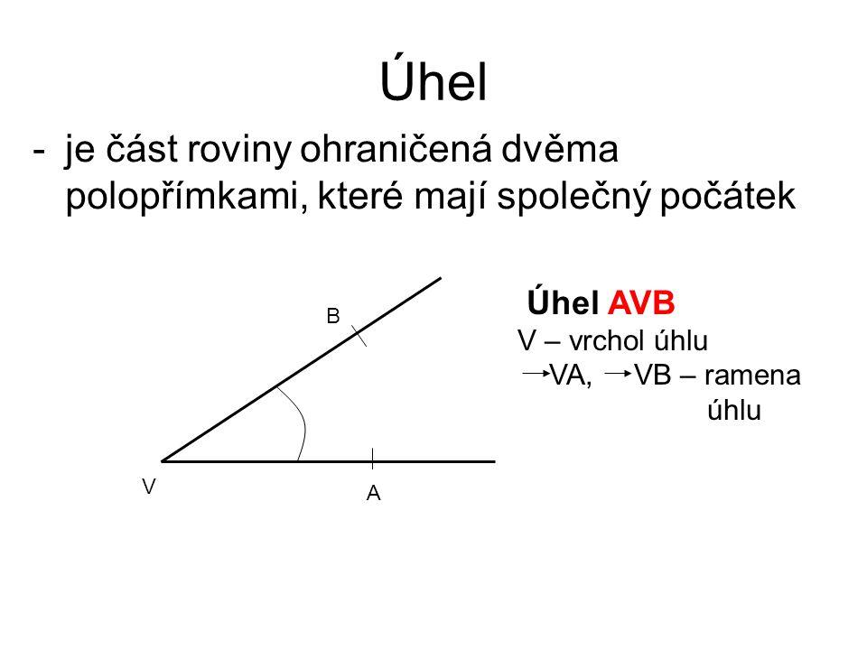 Úhel je část roviny ohraničená dvěma polopřímkami, které mají společný počátek. Úhel AVB. V – vrchol úhlu.
