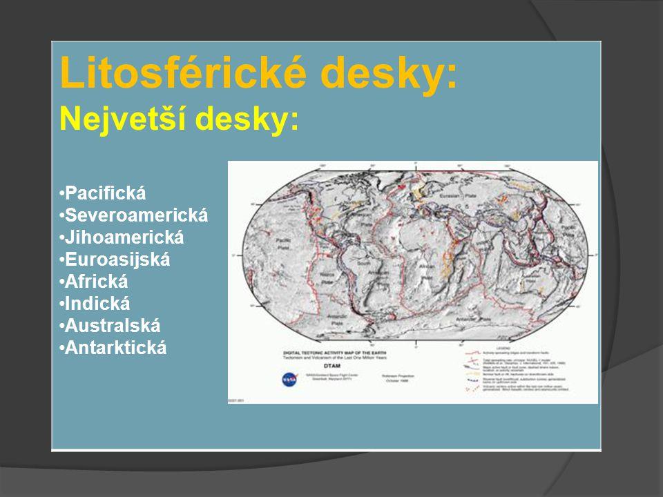 Litosférické desky: Nejvetší desky: Pacifická Severoamerická