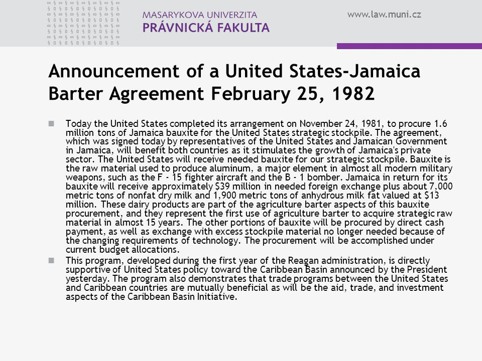 Announcement of a United States-Jamaica Barter Agreement February 25, 1982