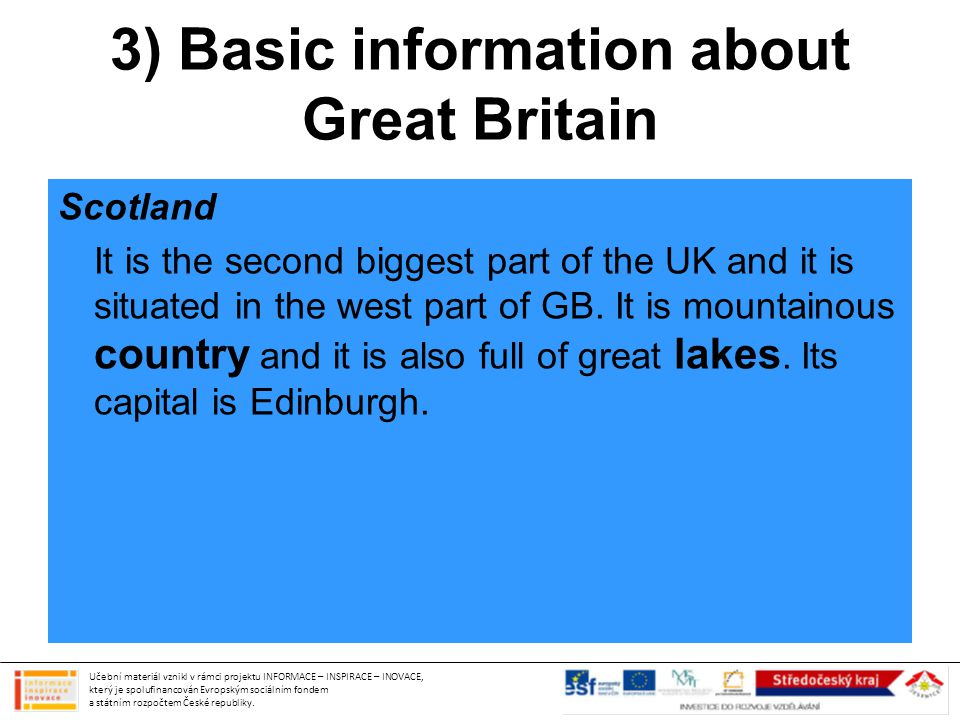 3) Basic information about Great Britain