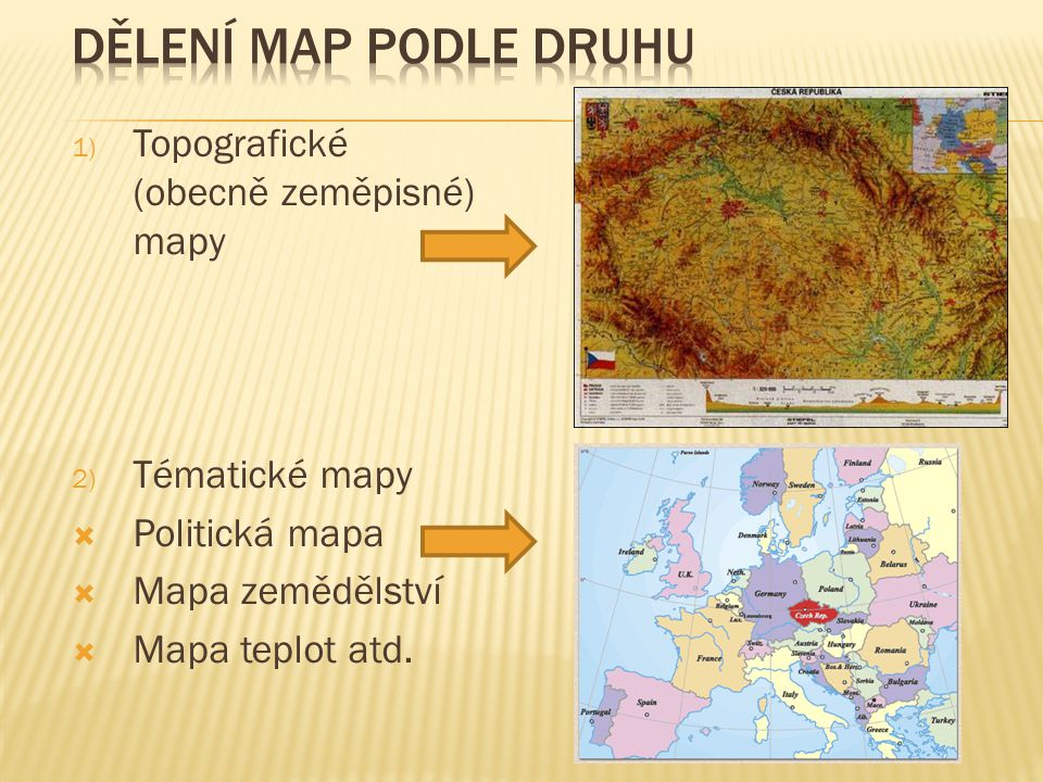 Dělení map podle druhu Topografické (obecně zeměpisné) mapy
