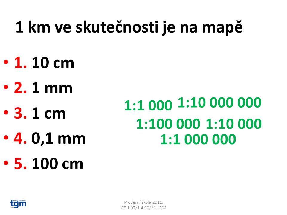 1 km ve skutečnosti je na mapě