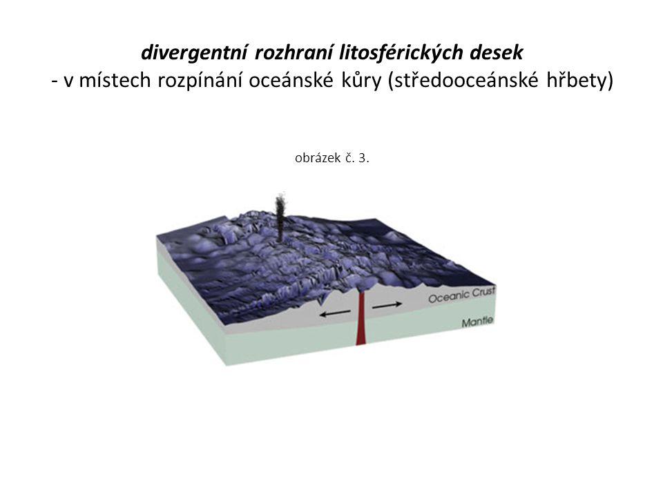 divergentní rozhraní litosférických desek - v místech rozpínání oceánské kůry (středooceánské hřbety) obrázek č.