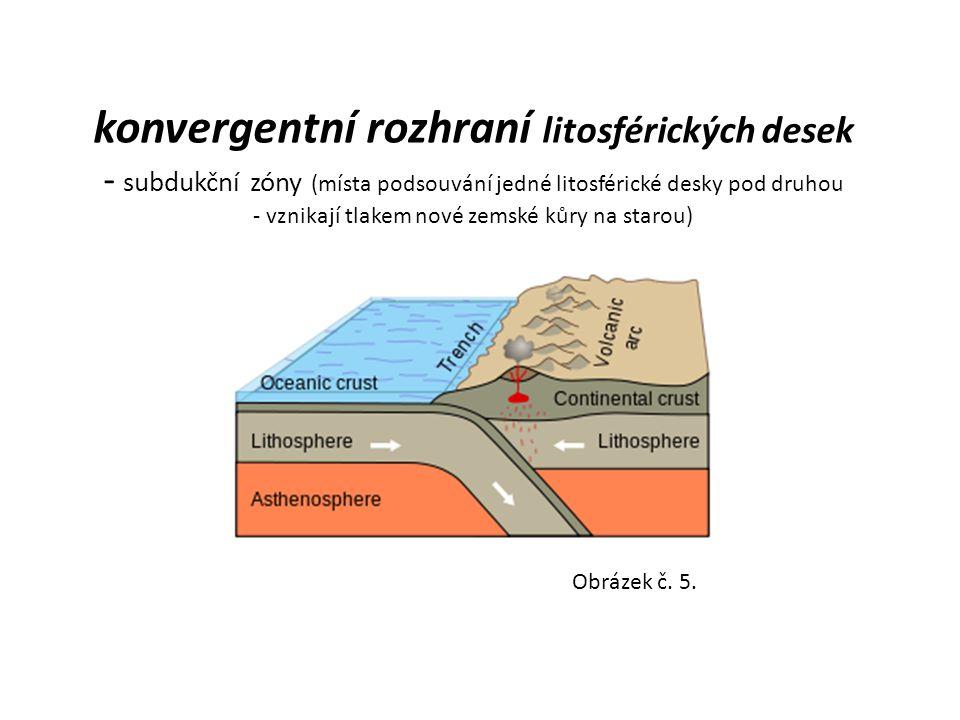 konvergentní rozhraní litosférických desek - subdukční zóny (místa podsouvání jedné litosférické desky pod druhou - vznikají tlakem nové zemské kůry na starou)