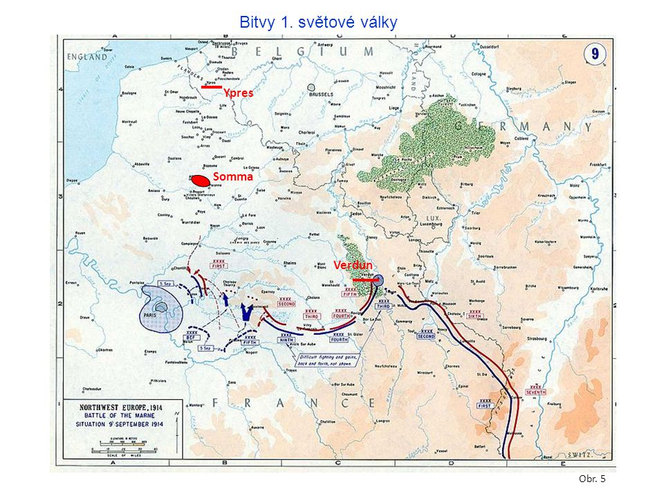 Bitvy 1. světové války Ypres Somma Verdun Obr. 5