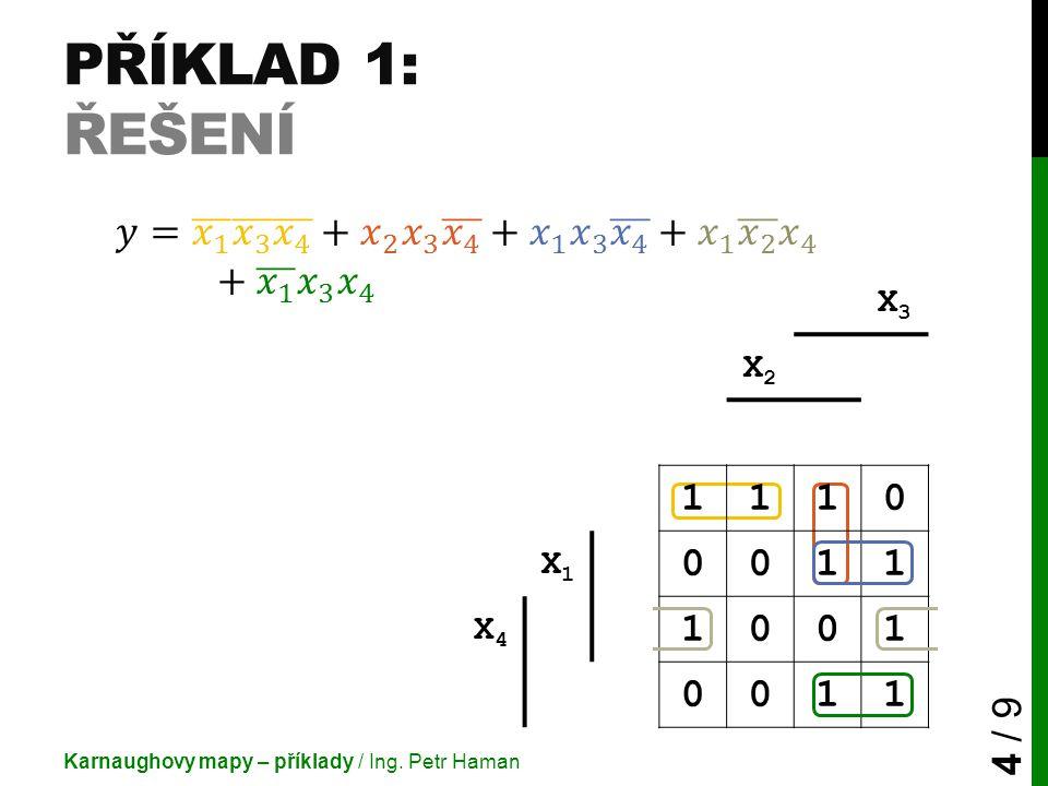 Příklad 1: Řešení 𝑦= 𝑥 1 𝑥 3 𝑥 4 + 𝑥 2 𝑥 3 𝑥 4 + 𝑥 1 𝑥 3 𝑥 4 + 𝑥 1 𝑥 2 𝑥 4 + 𝑥 1 𝑥 3 𝑥 4.
