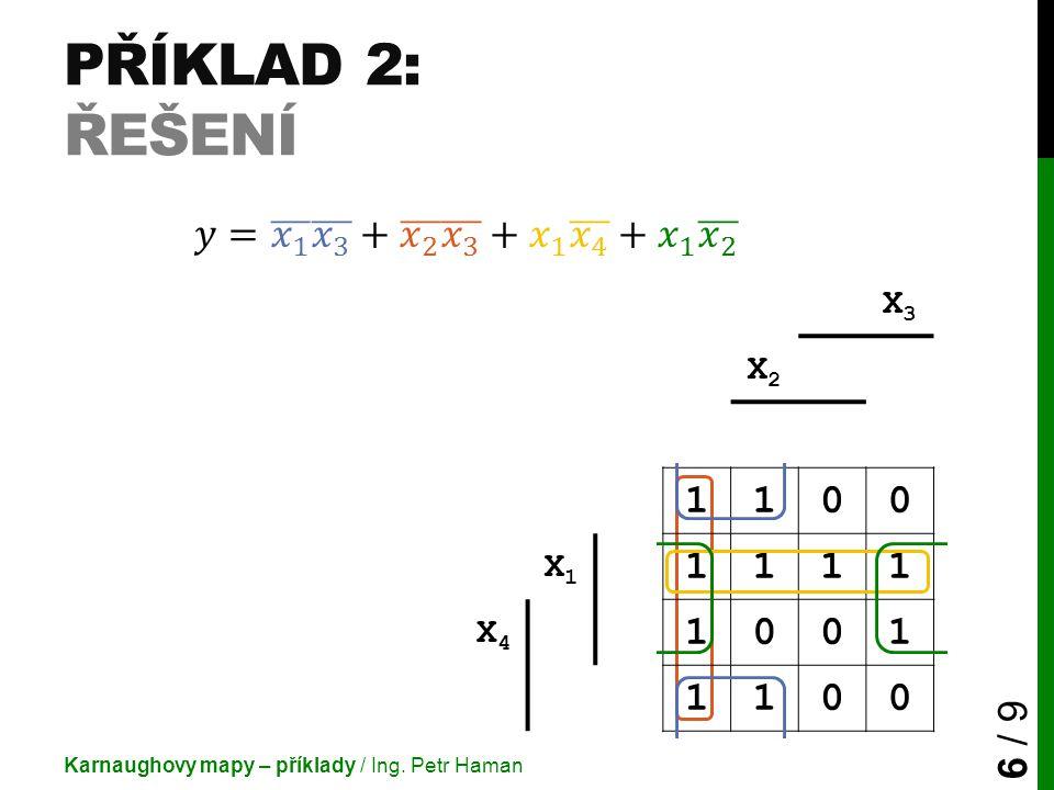 Příklad 2: Řešení 𝑦= 𝑥 1 𝑥 3 + 𝑥 2 𝑥 3 + 𝑥 1 𝑥 4 + 𝑥 1 𝑥 2 1 X3 X2 X1