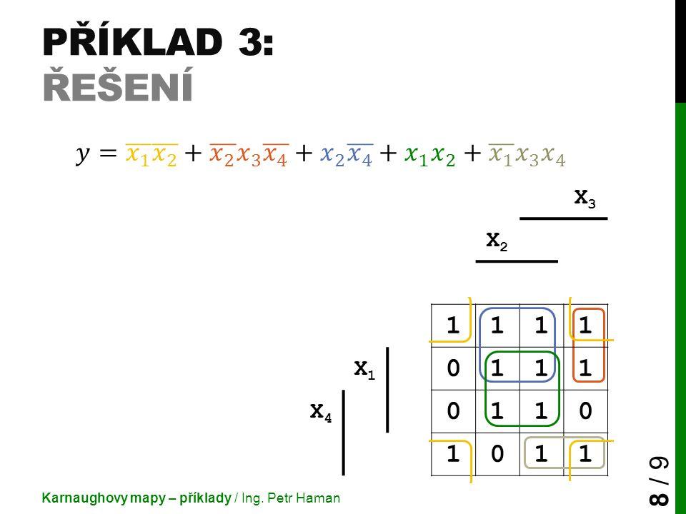 Příklad 3: Řešení 𝑦= 𝑥 1 𝑥 2 + 𝑥 2 𝑥 3 𝑥 4 + 𝑥 2 𝑥 4 + 𝑥 1 𝑥 2 + 𝑥 1 𝑥 3 𝑥 4. X3.